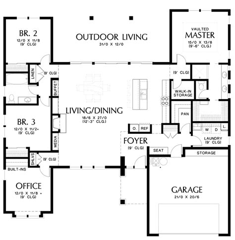 mascord house plan  outdoor living rooms ranch style  plan plan