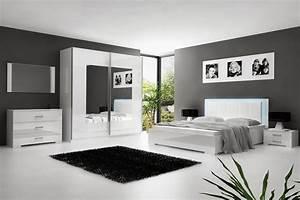 SOLDES Chambre Coucher Blanc Laqu Avec Clairage LED