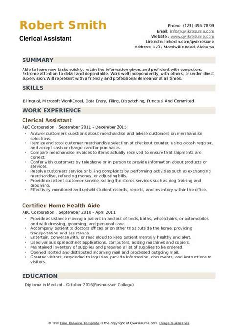 Clerical Resume by Clerical Assistant Resume Sles Qwikresume