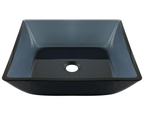 630 Square Black Glass Vessel Bathroom Sink