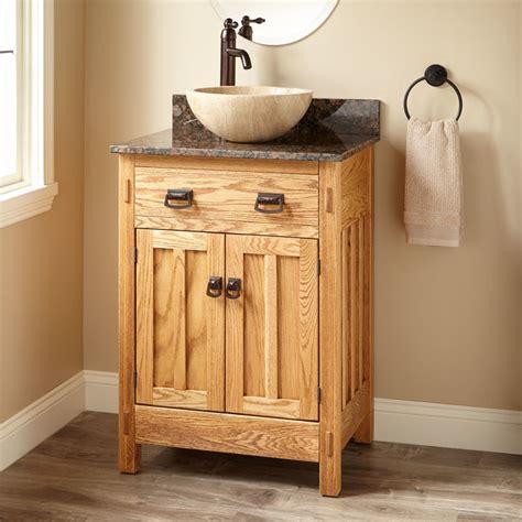 narrow mission hardwood vessel sink vanity