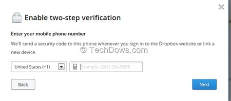 account now phone number enable two step verification for your dropbox account now