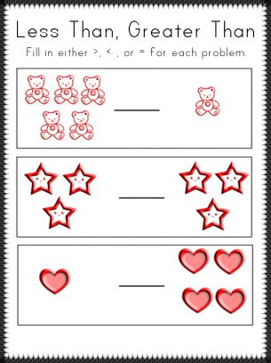 More Less Than Worksheet Kindergarten Worksheets For All  Download And Share Worksheets Free