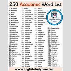 250 Academic Words List  English Study Here