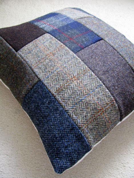 diy harris tweed patchwork cushion   sew