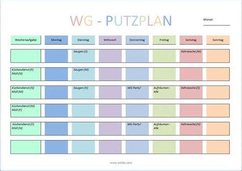 Wohnung Putzen Plan by Wg Putzplan Vorlage Putzen