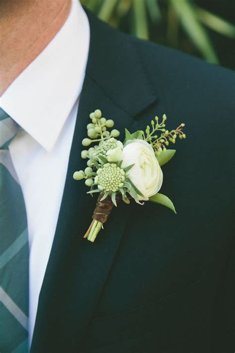 green boutonniere ideas  pinterest white