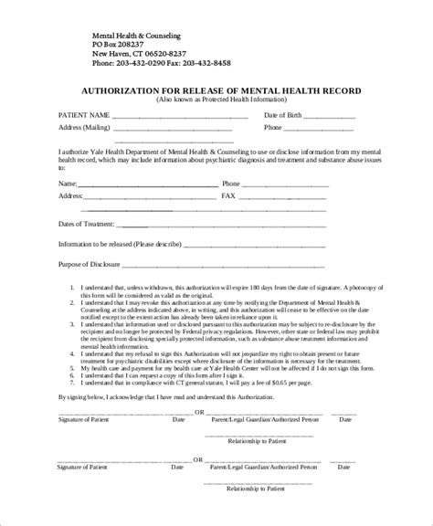 release of mental health records form 9 sle release of information forms sle templates