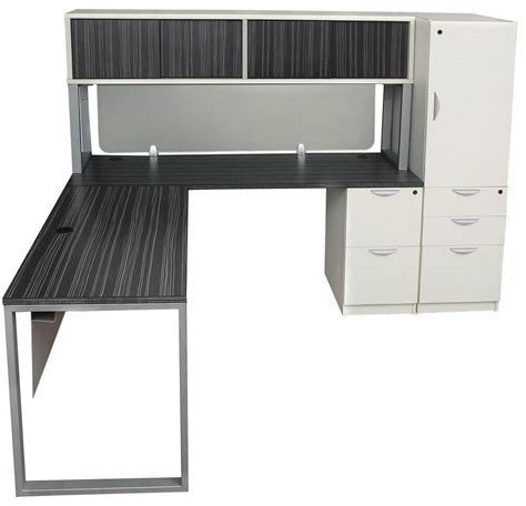 gray  white modern  shaped desk  side storage