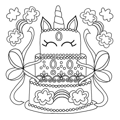 unicorn cake coloring pages  coloring sheets