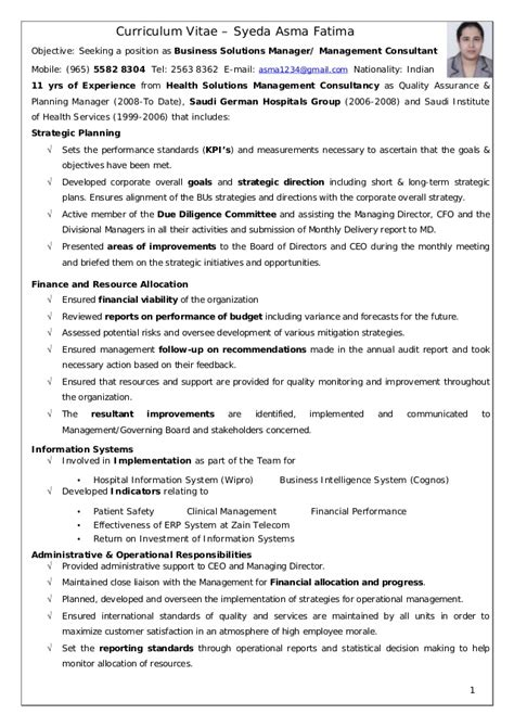 Business Consultant Resume by Asma Business Solutions Manager Or Management Consultant