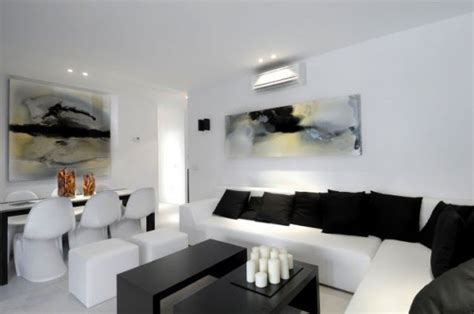 sala minimalista blanco  negro salas  comedores