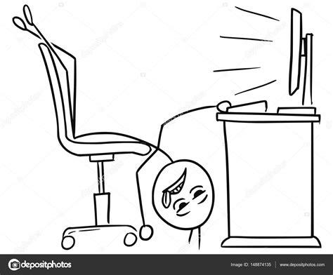 bureau de dessin fatigué de vecteur stick dessin animé de l homme