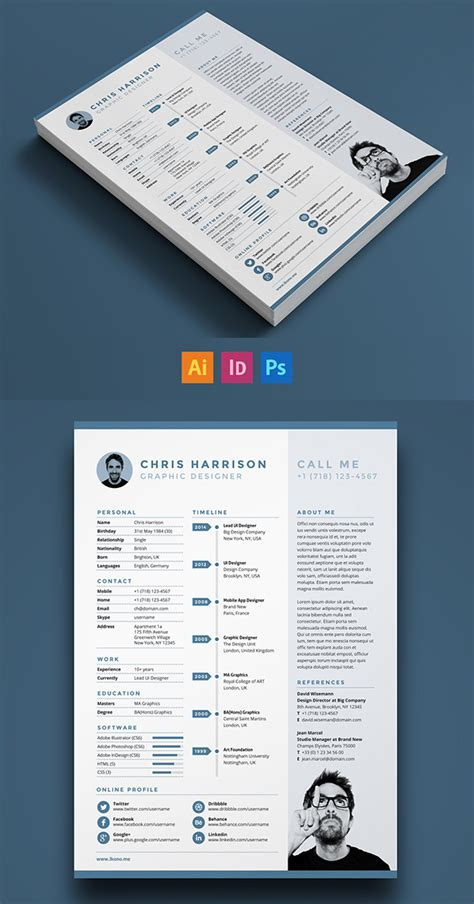 free modern resume templates psd mockups freebies