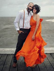 An orange wedding dress kirsty matt green wedding for Black and orange wedding dresses