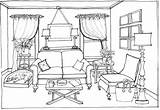 Coloring Drawing Living Clipart Perspective Bedroom Pages Point Furniture Interior Outline Sofa Drawings Modern Sketches Sketch Buildings Architecture Space Draw sketch template