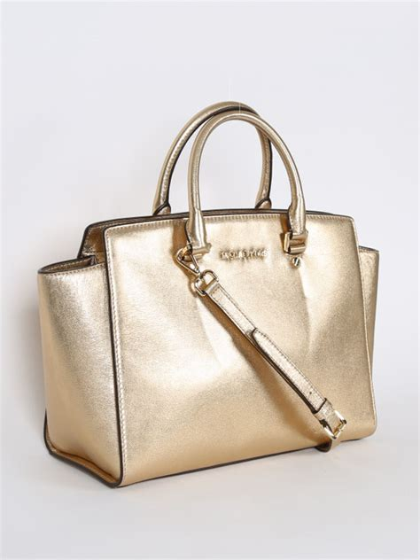michael kors selma large pale gold luxury bags