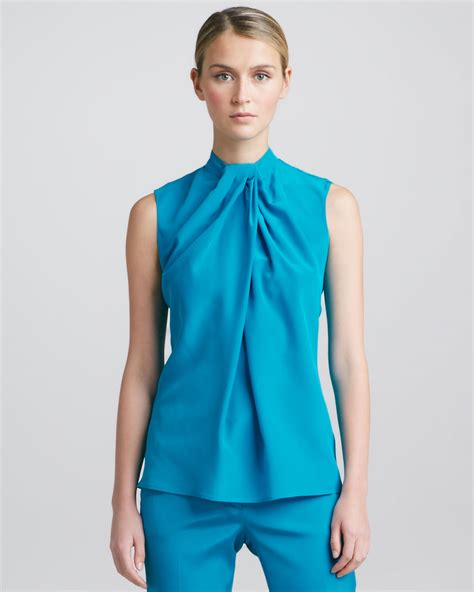 teal blouses etro sleeveless knotdetail blouse in blue teal lyst