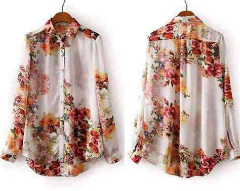 baju kemeja wanita lengan panjang motif bunga terbaru murah