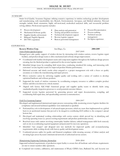 Manufacturing Technician Resume by Shane Hurt Resume Manufacturing Engineer