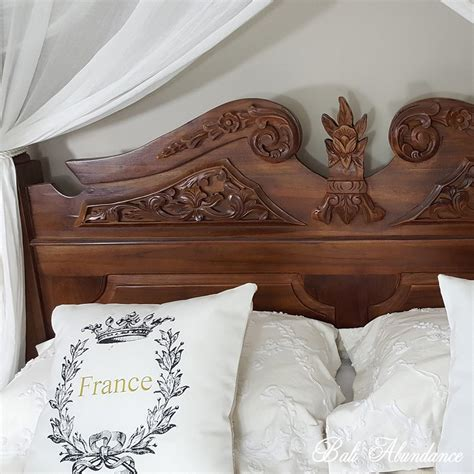 poster bed classic hand carved teak  chestnut