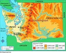 Washington state elevation map bnhspine washington elevation map sciox Choice Image