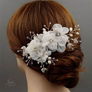 Bridal Hair Comb White Silk Flower Crystal Pearl Headpiece