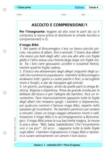 Prove D Ingresso Scuola Media Italiano Prove D Ingresso Italiano Classe 1 La Vita Scolastica