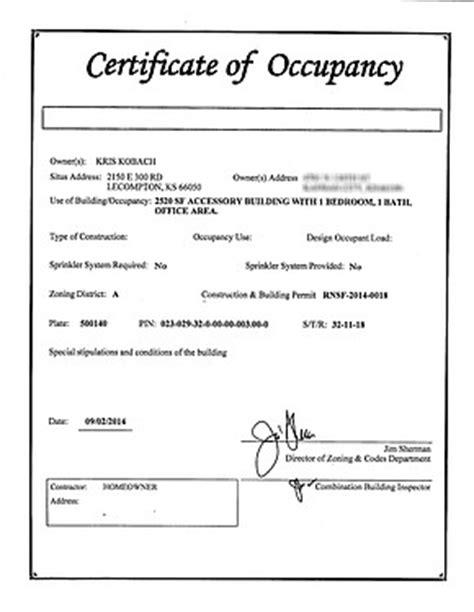 certificate  occupancy certificates templates