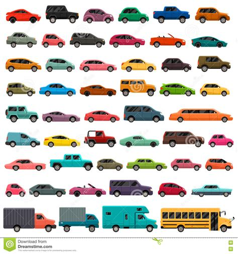 Car Type And Model Colorful Icons Set Stock Illustration