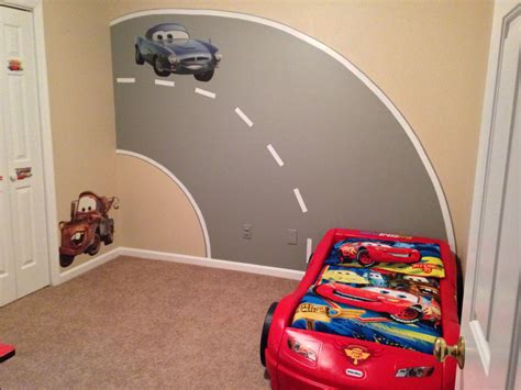 Cars Bedroom Ideas by My Sons Disney Cars Bedroom With Road Mural I Painted