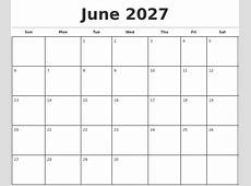 June 2027 Monthly Calendar Template
