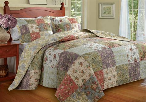 King Quilted Bedspread by Oversized Vintage Antique Patchwork Garden