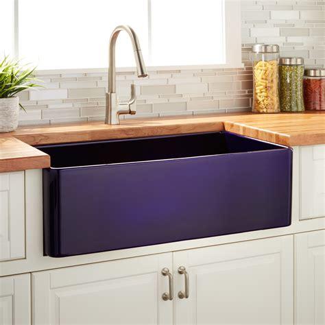 signature hardware kitchen sinks 30 quot reinhard fireclay farmhouse sapphire blue kitchen