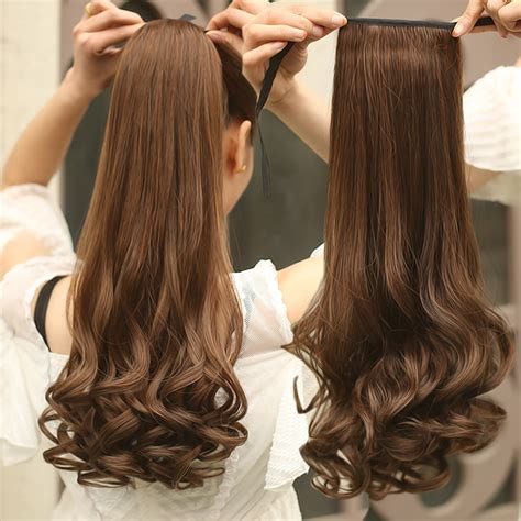 ponytail hair curly wavy long extensions extension hairpiece pieces pony tail synthetic clip 58cm ponytails wholesale clipin aliexpress