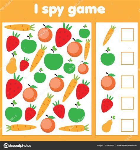 spy game toddlers find count vegetables fruits children
