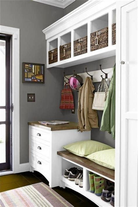 classic gray  white mudroom  built  storage