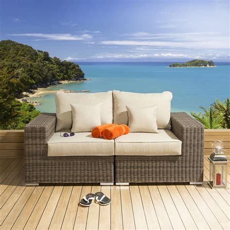 Quatropi Luxury Outdoor Garden 2 Seater Sofa Mocha Rattan