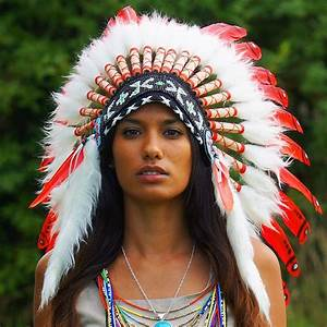 Red Indian Chief Headdress - 65cm - Indian Headdress ...
