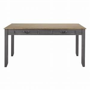 Table de salle a manger a rallonge en bois grise l 160 cm for Table salle a manger en bois