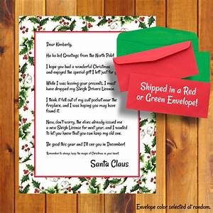 i lost my license letter from santa santa39s license With cheap personalized letters from santa
