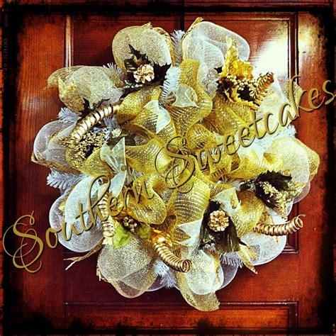 white gold christmas wreath wreaths pinterest