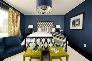Blue and Gold Bedrooms - Contemporary - Bedroom
