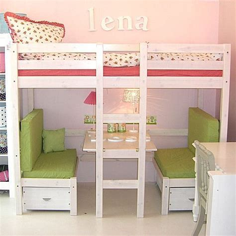 loft bed with table and benches this would be great for the girls set up the bottom bunk