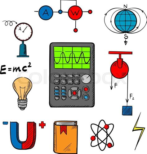 Physics science symbols such as magnet, electric power