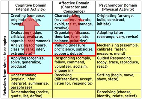 blooms taxonomy affective domain google search