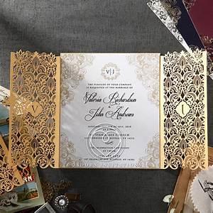 gold foil and ivory gatefold wedding invitation laser cut With gold laser cut wedding invitations uk