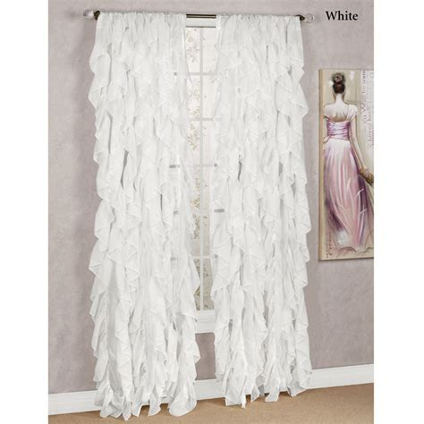 Cascade Sheer Voile Ruffled Window Treatment