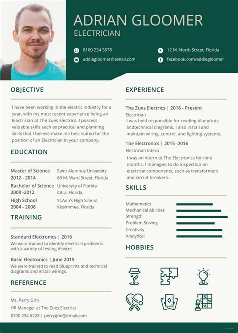 electrician resume template  word excel