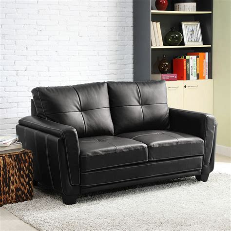 Loveseat Black by Black Faux Leather Low Profile Loveseat Chair Cushion